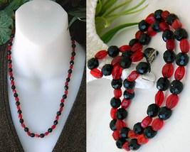 Vintage Black Jet Red Art Glass Faceted Beads Strand Necklace Japan - $21.95