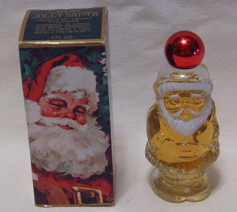 Avon Jolly Santa bottle with Here's My Heart cologne