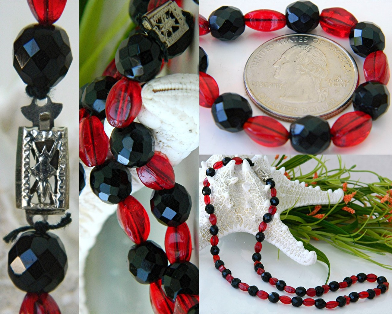 Vintage Black Jet Red Art Glass Faceted Beads Strand Necklace Japan