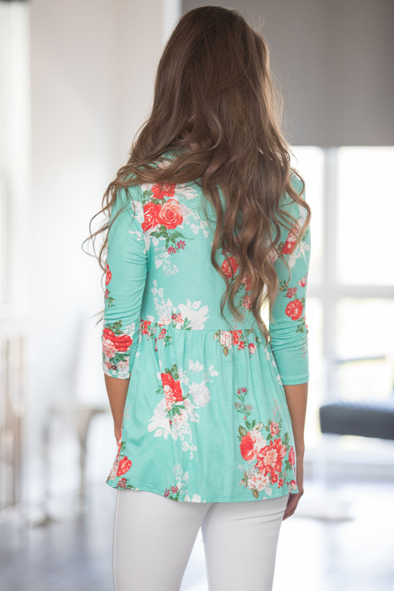 Lace Up V Neck Mint Floral Blouse