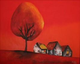 "Village, a 24"" high x 32"" commission original ... - $249.00"