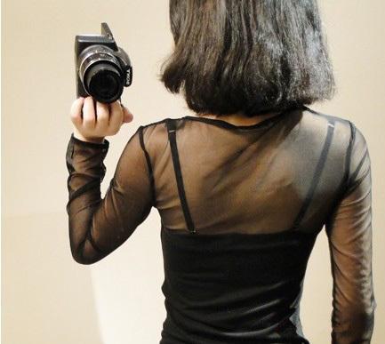 NWT Net sleeve and shoulder girl's black shirt