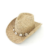 COWBOY STRAW PINCH HAT-SHELL CONCHOS - Adult L - XL - $19.90
