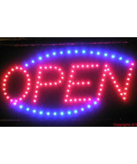 Animated LED Neon Light Open Store Sign Running Blue for shops businesse... - $62.99
