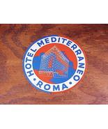 Hotel Mediterraneo Luggage Label, Rome Italy, Roma - $5.95