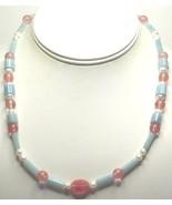Cherry Quartz, Amazonite & Freshwater Pearl Necklace - $14.99