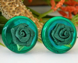 Vintage Green Lucite Button Earrings Fabric Rose Flower Clip - $17.95