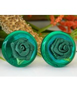 Vintage_green_lucite_button_clip_earrings_fabric_rose_flower_thumbtall