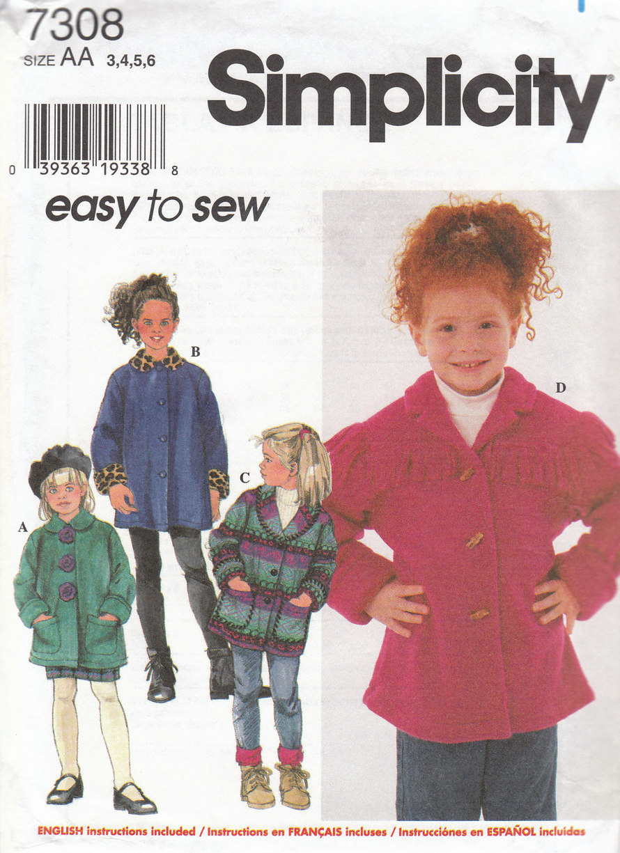 Simplicity 7308 Child's Set of Jackets Pattern 5-6-7-8