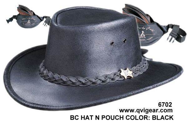 BC Hats 6702 Hat 'n The Pouch Smooth Leather Rainproof Nylon Hip Pouch Included