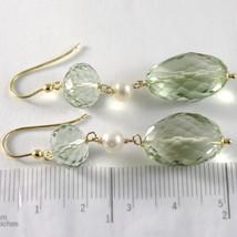 Yellow Gold Earrings 750 18k Pendants 5 CM, Prasiolite Cushion Cut and Pearls image 2