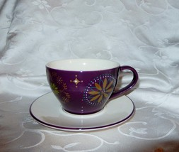 Starbucks Purple & Gold Star Oversized Cup & Saucer 2006 Now Retired New - $10.13