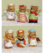 "Six Vintage Ceramic HOMCO 2"" Bear Figurines by Home Interior - 5101 & 8820 - $14.99"