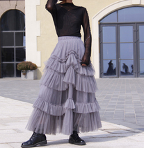 Gray Tiered Tulle Skirt Outfit High Waisted Full Plus Size Layered Tulle Skirts  image 8