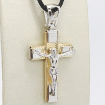 Cross Pendant Gold Yellow White 750 18k, with Christ, finely worked image 1