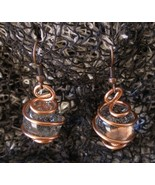 Unique Handcrafted Copper Wire Copper Hooks Wire Wrapped Crystal Ball Ea... - $9.99