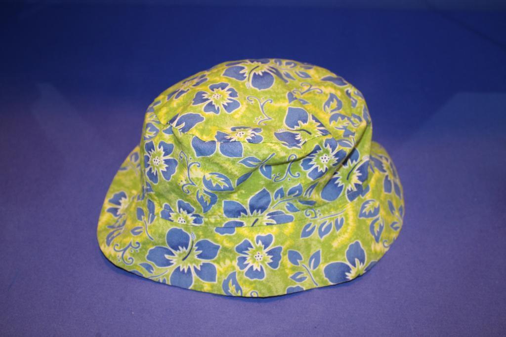 CHEZ AMI Patsy Aiken Green/Blue Flower BUCKET HAT S 3-4