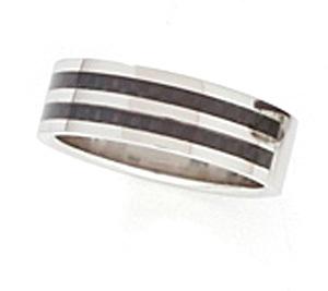 SSR02 Black Stripes Carbon Fiber Stainless Steel Ring
