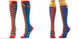 Superman Dc Comics Faux Lace Up Knee High Socks - $12.75