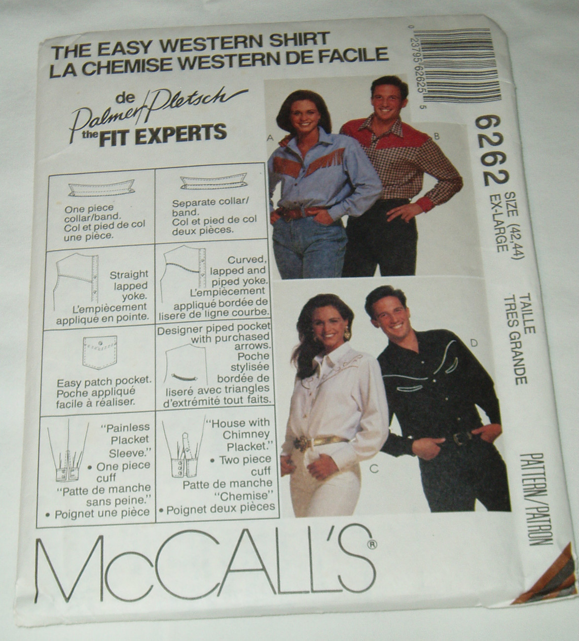 McCall's 6262 Misses' Mens' Western Cowboy Cowgirl Rodeo Shirt Pattern 42-44