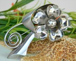 Vintage metal flower pin brooch  large 1950s silver tone thumb155 crop