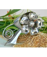 Vintage Metal Long Stem Art Flower Brooch Pin Large 1950s Silver Tone - $37.95