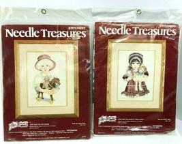 2 Needle Treasures Stitchery Kits Hagara  #00557 00558 Vintage New 10 x 14 - $39.59