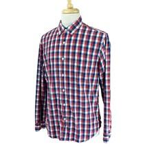 J Crew Men's Slim Button Down Long Sleeve 100% Cotton Red Blue Check Shi... - $21.52