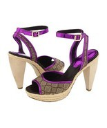 Nine West Ciscoann Platform Shoes Dress Heels Chunky Pink Purple Tan Wom... - $29.00