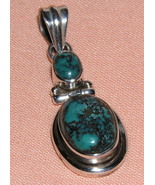 Two Cabochon Turquoise Hinged Sterling Silver P... - $27.00