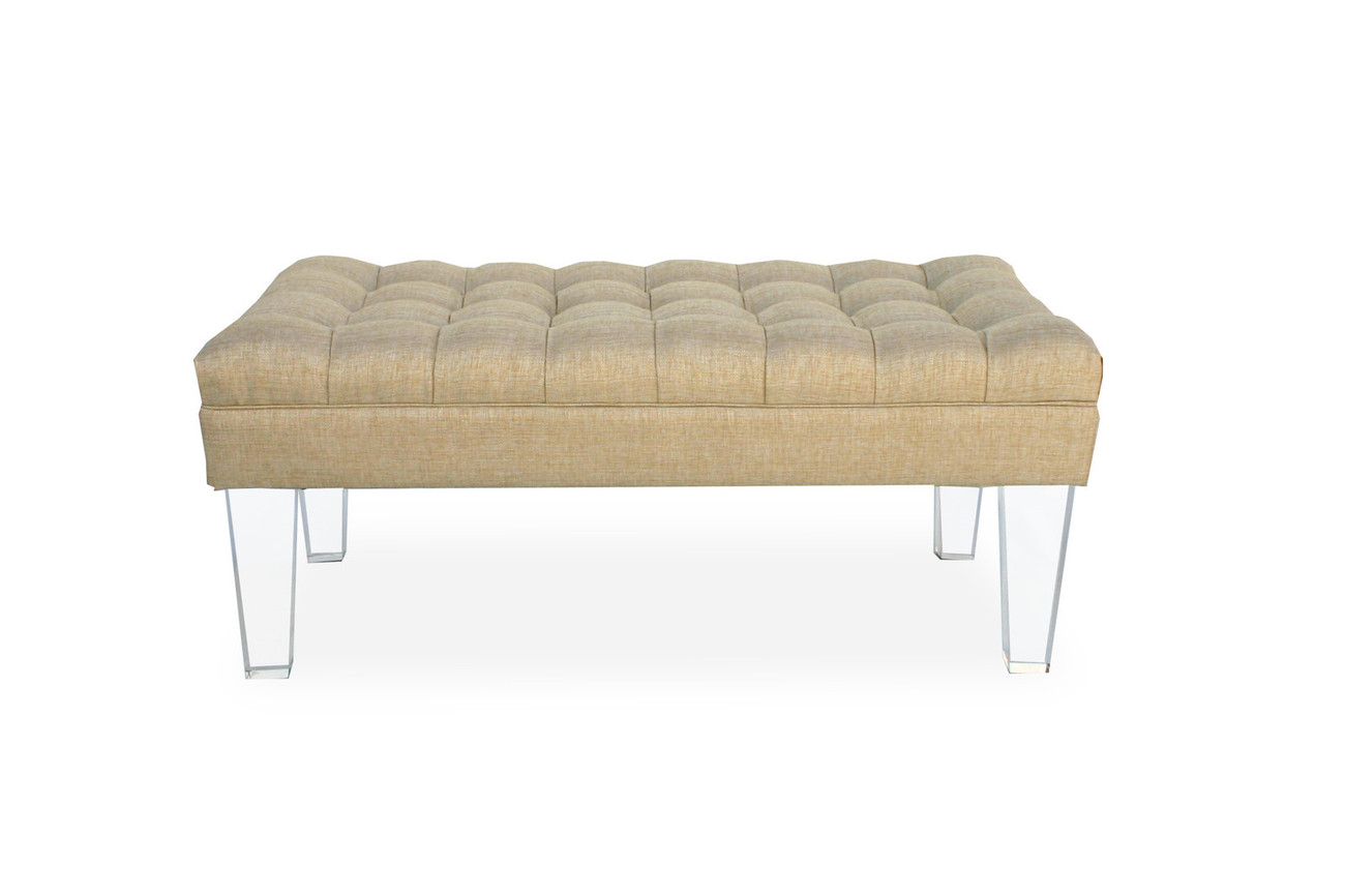 Tufted Lucite Bench 48w X 24d Acrylic Legs Hollywood Regency Glam 3 Colors Benches Stools