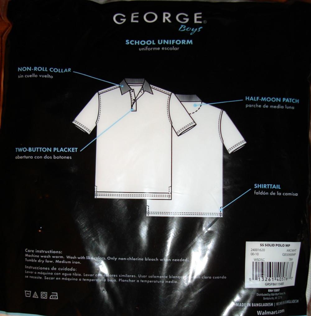 George Boy School Uniform Short Sleeve Shirt 2 Pk 2XLarge 18