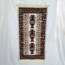 Large Vintage Mid Century Woven Wall Hanging Rug Tapestry Greek Pattern ... - $84.15