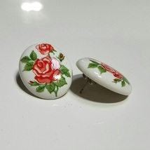 "Avon Birthday Bouquet ""June Rose"" Pierced Earrings - $8.99"