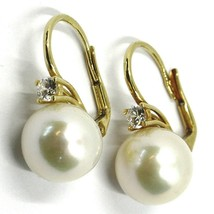18K YELLOW GOLD LEVERBACK EARRINGS, BIG FRESHWATER PEARLS 12 MM, CUBIC ZIRCONIA image 2