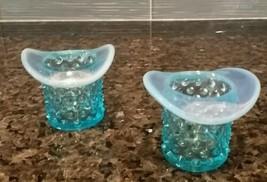 PAIR VINTAGE FENTON OPALESCENT BLUE HOBNAIL GLASS SMALL TOP HAT VOTIVE T... - $25.00
