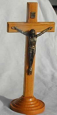 Oak Cross with Christ metal