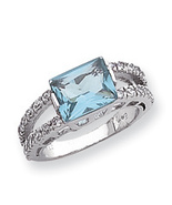 New Sterling Silver Blue and Clear CZ Ring, Size 7 - $19.55