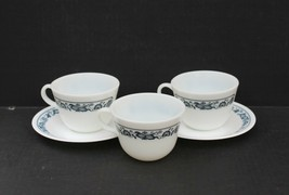 3 Corning Corelle OLD TOWN BLUE Milk Glass C Ring Coffee/Tea Cups + 2 Sa... - $24.99