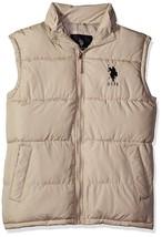 Us Polo Assn Men's Premium Athletic Classic Soft Puffer Zip Up Vest Beige size S