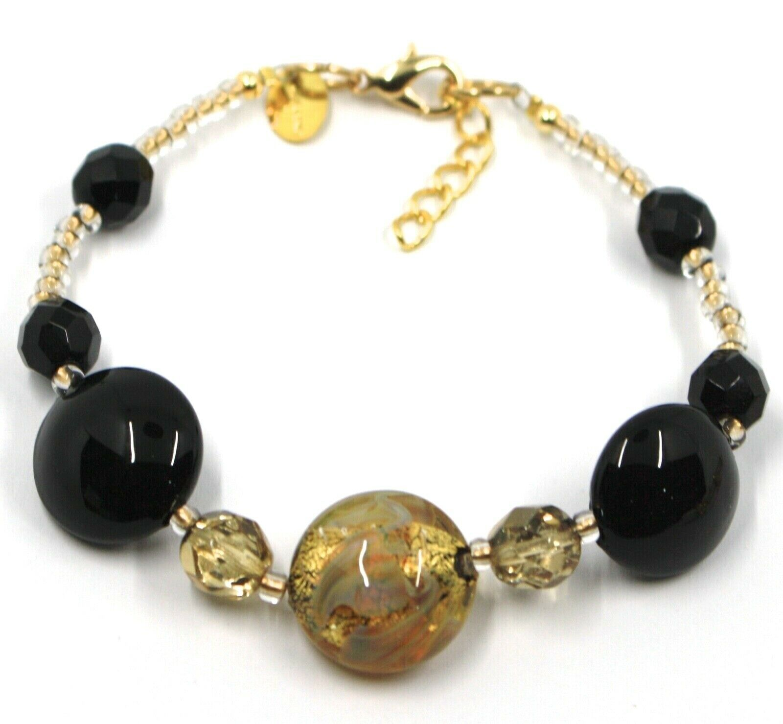 BRACELET BLACK YELLOW MURANO DISC GLASS & GOLD LEAF, MADE IN ITALY, 20cm, 7.9""