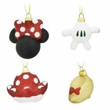 Disney Minnie Mouse Ears Bow Icon Glass Glitter Christmas Ornament Set o... - $34.64