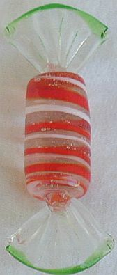 Red,white and green  glass miniature candy