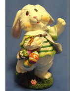 Easter Figurine White Easter Rabbit with Colorful Eggs - $9.95