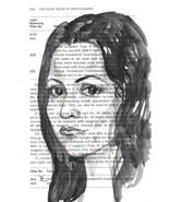 Akimova: GIRL, original, watercolor, Chinese brush - $20.00