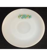 Fire King Bonnie Blue Saucer White Milk Glass Vintage Teal Flower Design - $7.95