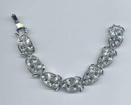 Vintage Clear Rhinestone Silvertone Metal Leafy Design Bracelet - $9.95