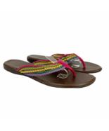 Montego Bay Flip Flop Sandals 9 Womens Multicolor Woven Faux Leather Fla... - $24.07
