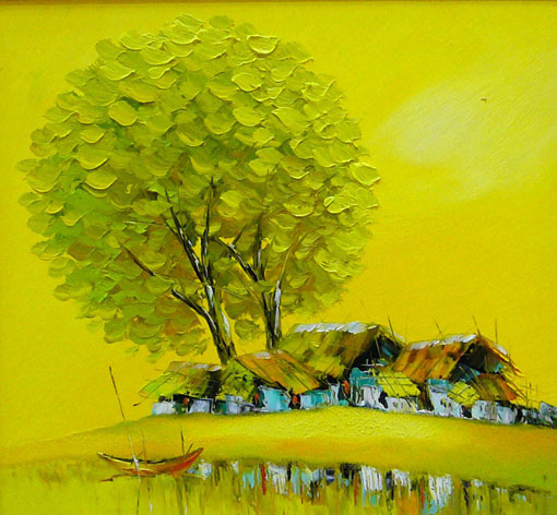 "Morning Sun, 24x26"" Vietnamese hand painted oil painting"