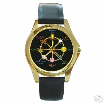 BEAUTIFUL WICCAN PAGAN SAMHAIN CALENDAR GOLD-TONE WATCH